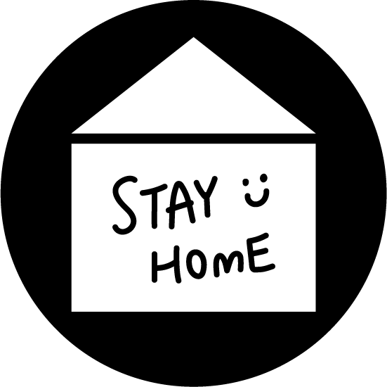 「STAY HOME」アイコンイラスト(丸・白黒)