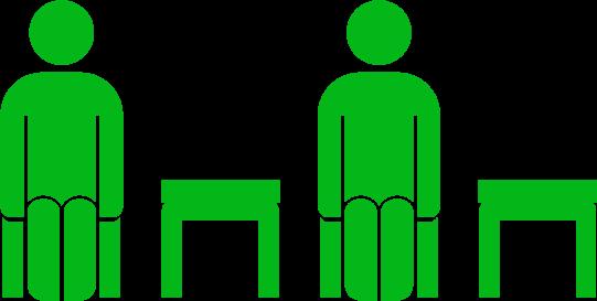 席を一つ空けて座るアイコンイラスト