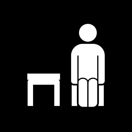 席を一つ空けて座るアイコンイラスト(丸・白黒)