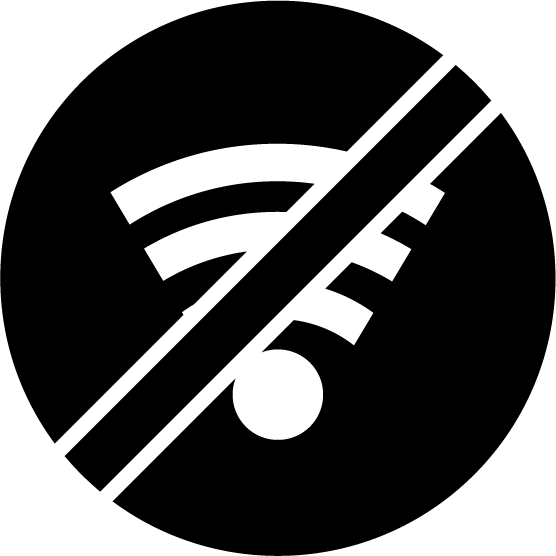 Wi-Fi禁止のアイコンイラスト(黒)