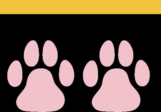 規制線と猫の足跡のアイコンイラスト(肉球)