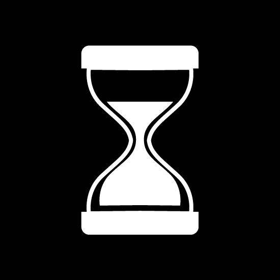 砂時計のアイコンイラスト(丸・白黒)
