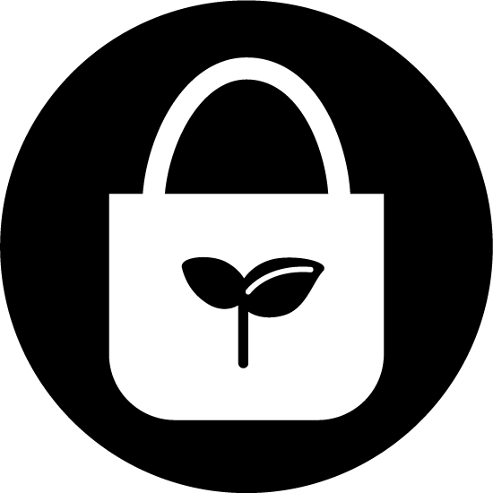 エコバッグのアイコンイラスト(白黒・丸)
