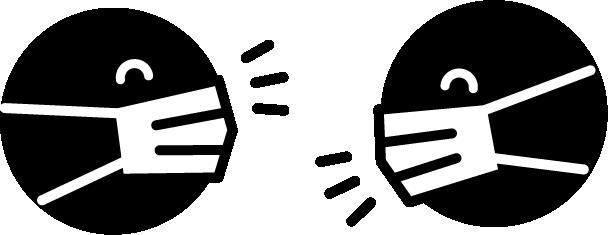 マスクをして喋るアイコン(白黒)