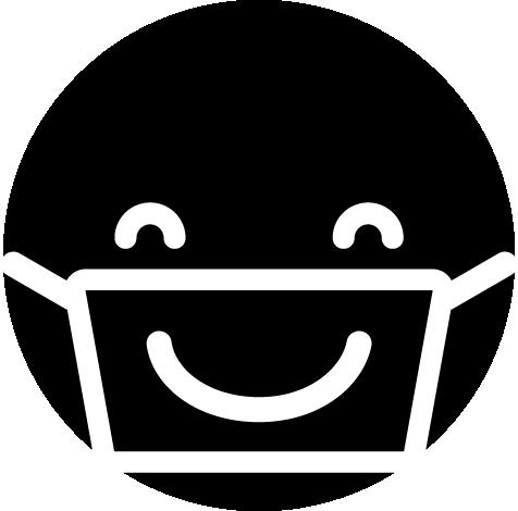 マスクで笑顔のアイコンイラスト(白黒)2