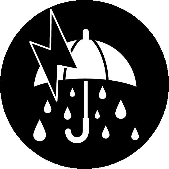 雷雨のアイコンイラスト(大雨・白黒・丸)