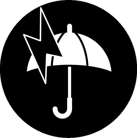 雷雨のアイコンイラスト(白黒・丸)