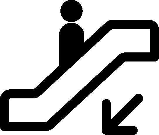 エレベーターのアイコンイラスト(下り)