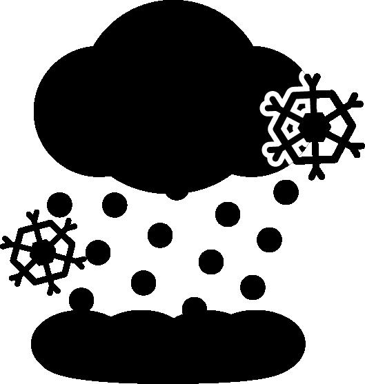 大雪のアイコンイラスト4(白黒)