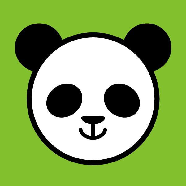 背景ありのパンダのアイコンのイラスト