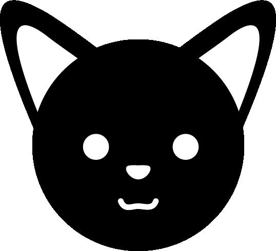 狐のアイコンのイラスト(白黒)