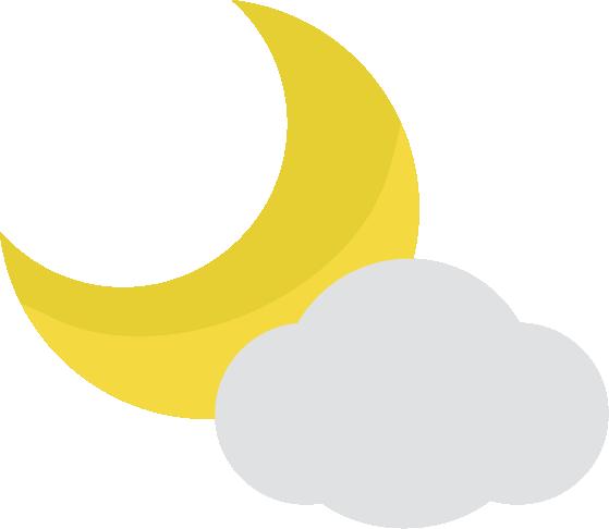 月と曇りの天気アイコンのイラスト