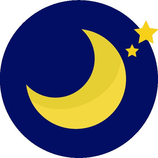 夜空の月の天気アイコンのイラスト