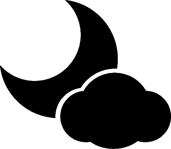 月と雲の天気アイコンのイラスト(白黒)