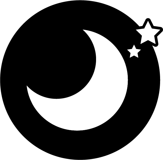 月と星の丸いアイコンのイラスト(白黒)