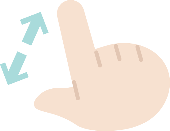 ピンチアウトのジェスチャーアイコンイラスト(右手)