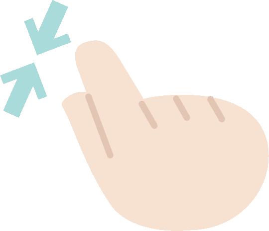 ピンチインのジェスチャーアイコンイラスト(右手)