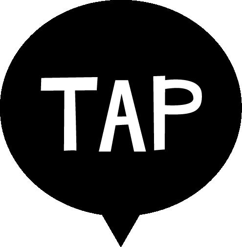 TAPの文字アイコンのイラスト(白黒)