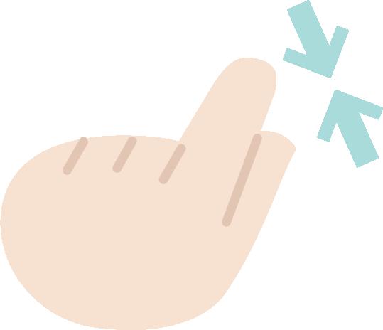 ピンチインのジェスチャーアイコンイラスト(左手)