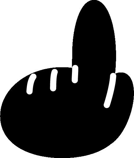 人差し指で指差すアイコンイラスト(黒・左手)