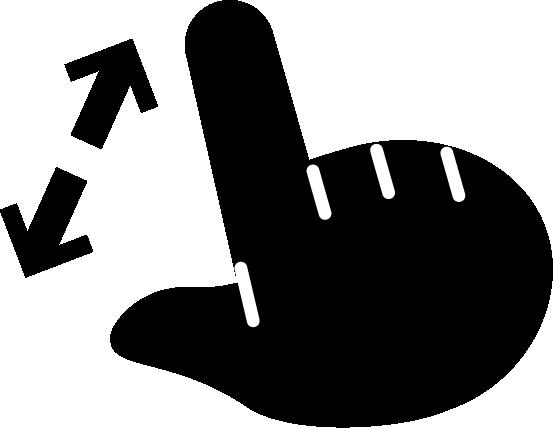 ピンチアウトのジェスチャーアイコンイラスト(黒・右手)