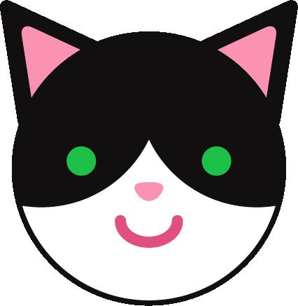 ハチワレ猫のアイコンイラスト1