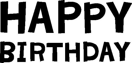 「HAPPY BIRTHDAY」の文字のイラスト(白黒)