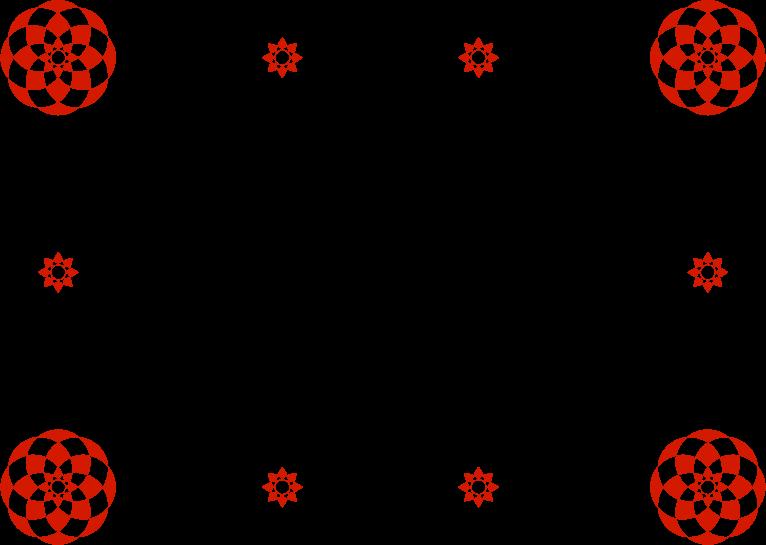 和風の花柄のフレームイラスト(赤・黒)