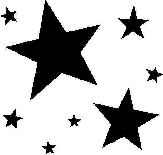 白黒の星のイラスト
