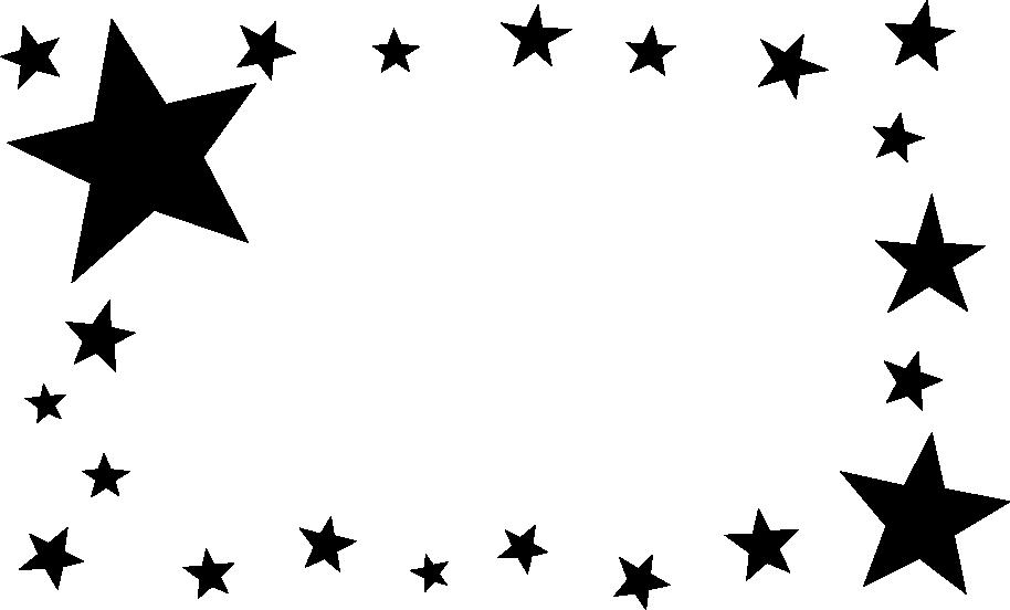 白黒の星のフレームイラスト