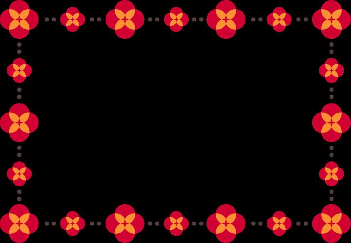赤色の花のフレームイラスト