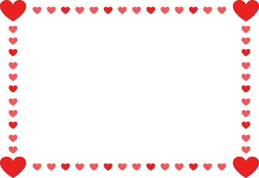 赤いハートのフレームのイラスト