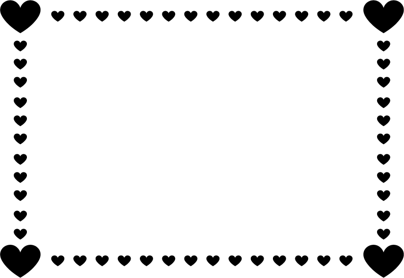 黒いハートのフレームのイラスト