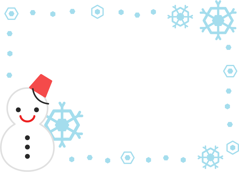 雪だるまのフレームのイラスト1