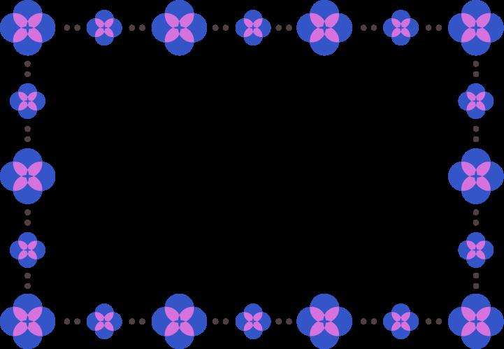 青色の花のフレームイラスト