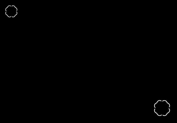 白黒のクローバーのフレームイラスト