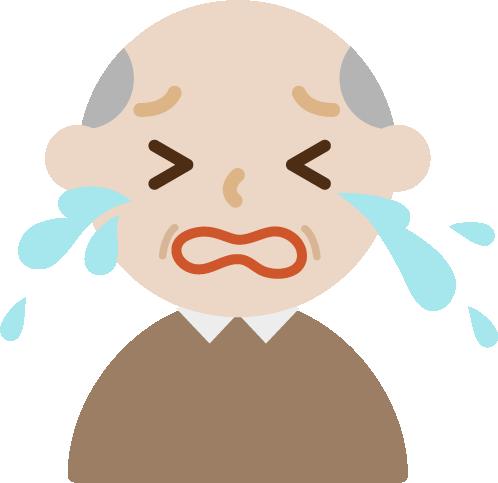 号泣する高齢者の男性のイラスト