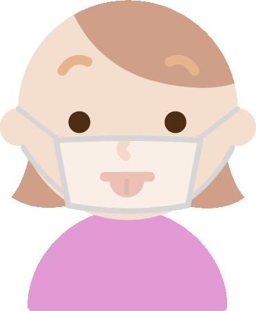 マスクの下で変顔をする若い女性のイラスト1
