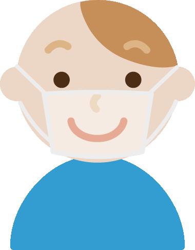 男性のマスクの下の表情のイラスト(笑顔)