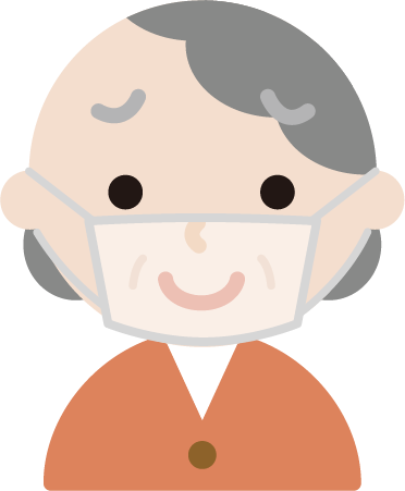 高齢者女性のマスク下の表情のイラスト(困り笑顔)