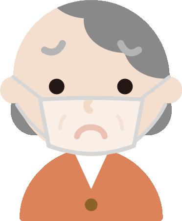 高齢者女性のマスク下の表情のイラスト(困惑)