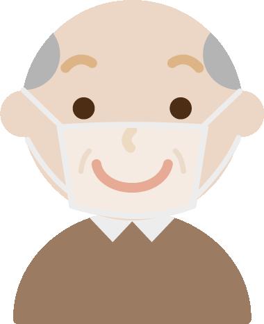 高齢者男性のマスク下の表情のイラスト(笑顔)