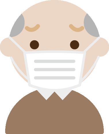 困った顔の、マスクをした高齢者男性のイラスト