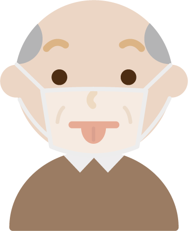 マスクの下で変顔をする高齢者男性のイラスト1ト