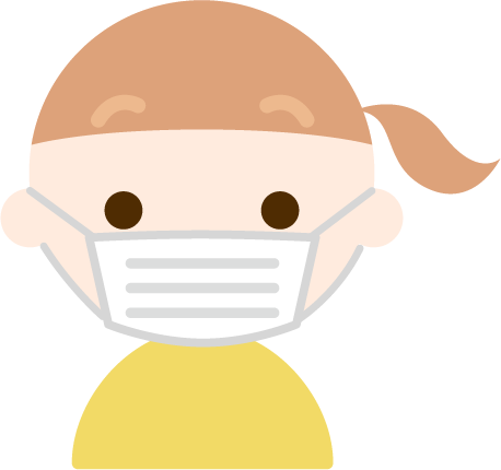 マスクをした女の子の表情のイラスト(真顔)