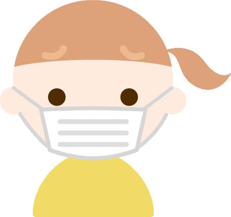 困った顔でマスクをした女の子のイラスト