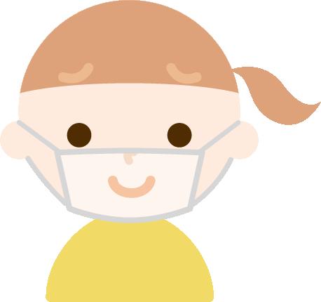 女の子のマスク下の表情のイラスト(困り笑顔)