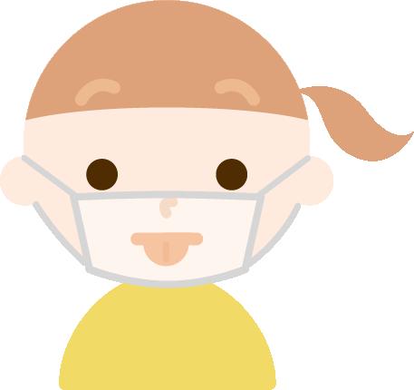 マスク下で変顔をする女の子のイラスト1