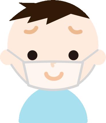 男の子のマスク下表情のイラスト(困り笑顔)