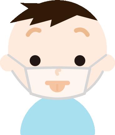 マスクの下で変顔をする男の子のイラスト1